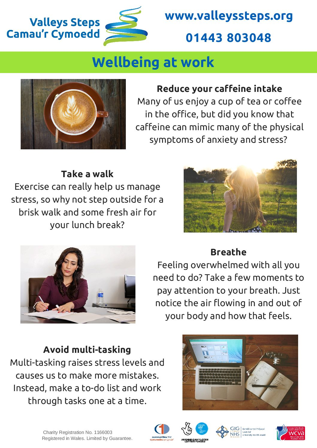 4 easy tips to manage your stress and wellbeing at work.